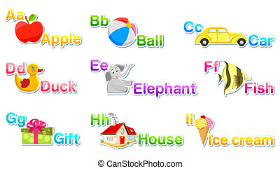Alphabet Set 1 - illustration of alphabet set with associate...