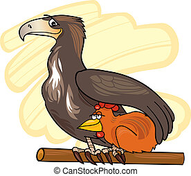 Eagle and chicken - Illustration of eagle and chicken in...