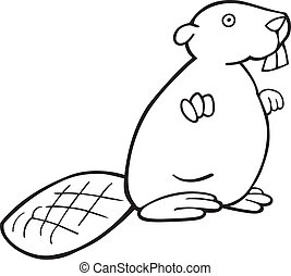 Beaver for coloring book