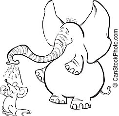 Mouse and Elephant for coloring book