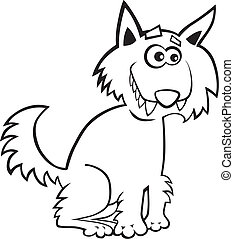 Wolf for coloring book - Cartoon illustration of funny wolf...