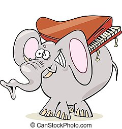 Elephant with piano - Humorous illustration of elephant with...