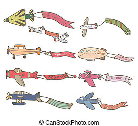 cartoon airplane banner  - cartoon airplane banner