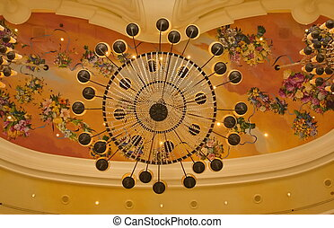 Chandelier and Painted Ceiling