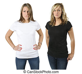 Young angry women with blank shirts - Angry young women...