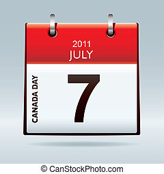 Canada day calendar icon - Red and white calendar icon for...