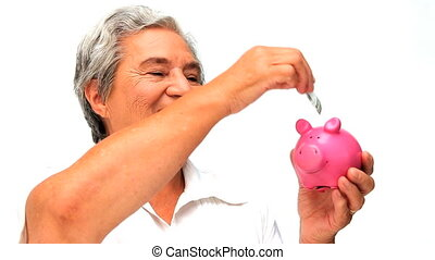 Senior woman saving money