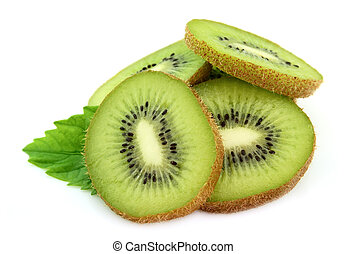 Segments of a kiwi with leaves