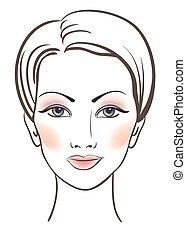美しさ, 女性, 顔, 構造