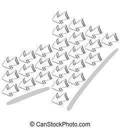 3D arrow sketchy design elements