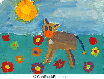 Childs painting - A colorful childs painting of a calf