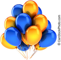 Party balloons blue orange - Party balloons multicolor blue...