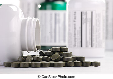 Dietary supplement tablets and containers - Composition with...