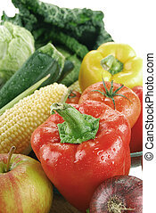 Composition with raw vegetables