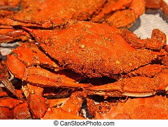 Maryland, cozinhado, caranguejos