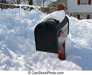 Snowy Mailbox - Mailbox buried in three feet of snow