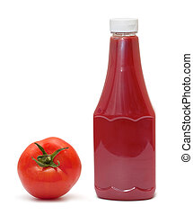 bottle of ketchup and tomato on white background