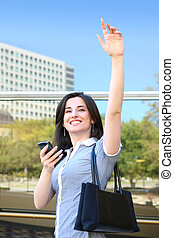 Business Woman Waving Goodbye - A young pretty business...