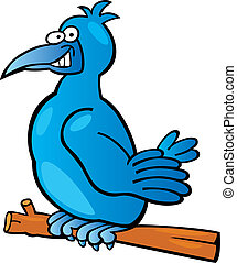 Blue bird - Illustration of funny blue bird on branch