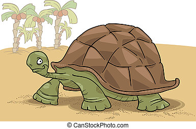 big turtle - cartoon vector illustration of funny big turtle