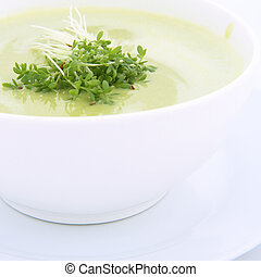 Pea soup - Pea and mozzarella soup decorated with some cress...