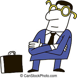 Clerk - Manager, a businessman in a suit and glasses...