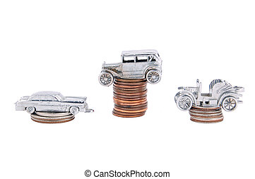 Money for car, antique toy car toy and money on white background