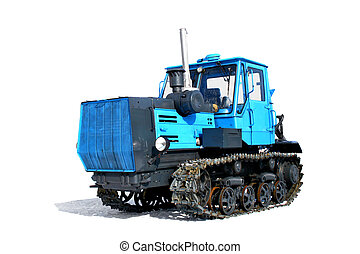 Blue tractor - Blue track-type tractor isolated over white
