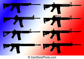 Vector set of guns silhouette
