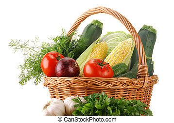 Vegetables and wicker basket - Composition with raw...