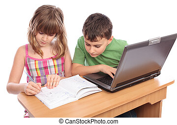 School children working together, educational concept - Two...