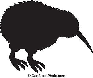 Kiwi Silhouette - Dark black kiwi bird silhouette