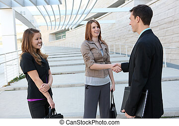 Business Team Shaking Hands - Attractive man and woman...