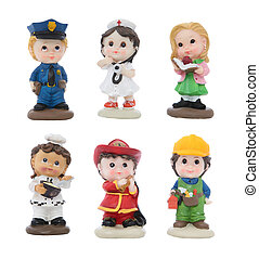 Cute Figures in Different Work Attire - Firefighter,...