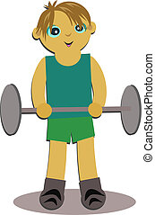Boy Exercising with Weights