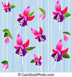 vector background with flower fuchsia - Fuchsia flower and...