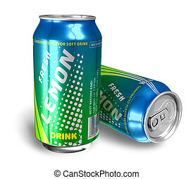 Lemon soda drinks in metal cans *** Design of these drink...