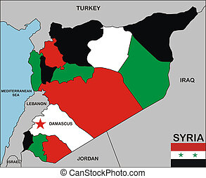 syria map - political map of syria country with neighbors...