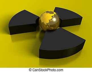 Nuclear symbol with Earth globe