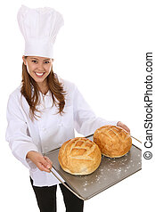 Pretty Woman Chef Holding Bread