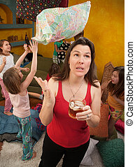 Unhappy Mom With Kids - Unhappy Caucasian mom with drink...