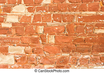 Wall for background texture with red sandstone rocks