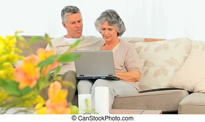 Mature couple working on their laptop