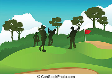 Golf players - A vector illustration of a few golf players...