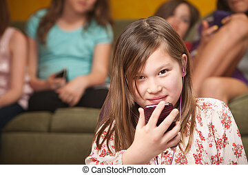 Little Girl Listens To Music - Little Biracial Caucasian and...