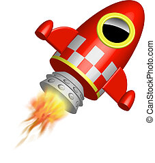 vermelho, pequeno, foguete, navio, chamas