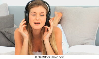 Woman listening to some music