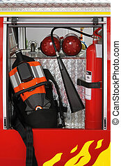 Fire fighter equipment with tool and extinguishers