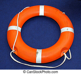Lifebuoy - Florescent orange life buoy lifesaver at sea