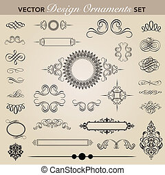 Vector Ornament Set - Set of decorative ornaments. Easy to...